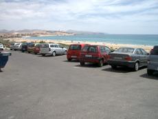 Parkplätze am Strand von Costa Calma