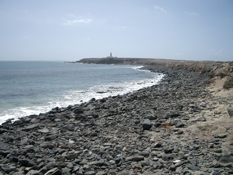 "Beach near Puerto de la Cruz (Puertito) with view of ""Punta de Jandía"""