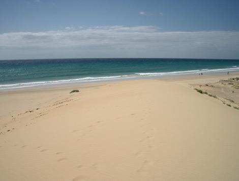 Blick von einer Sanddüne zum Meer