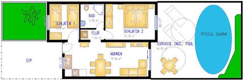 Grundrissplan Bungalow Palmeras B6