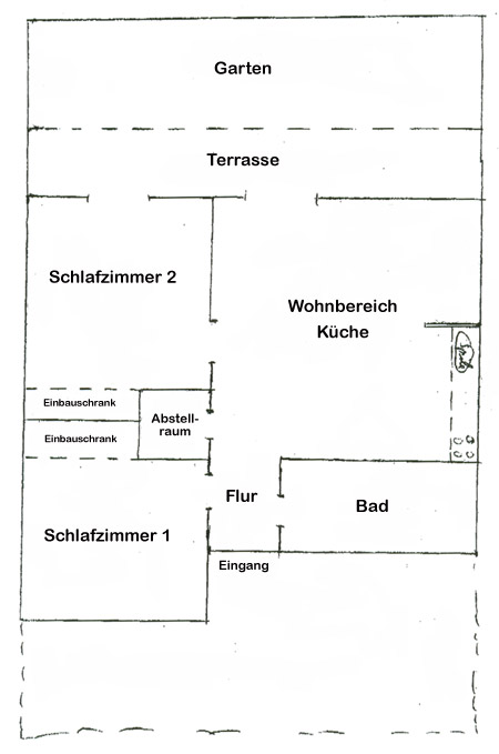 Grundrissplan Appartement Jardin V-A5