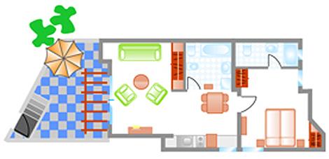 """Grundrissplan Appartement """"Ultra Dos 16"""""""